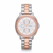 Relógio Fossil Es3356 Prata E Dourado Coleção 2015 Original