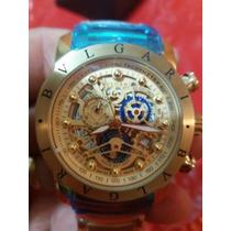 Relógio Nuclear A Bateria (dourado Com Detalhes Em Azul)