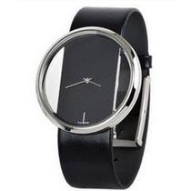 Relógio Fashion Aço Com Pulseira Em Couro Preto