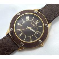 Relógio De Pulso Feminino Euro Marrom Folheado A Ouro!