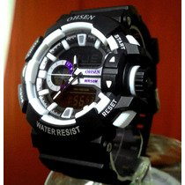 Relógio Design G Shock Marca Ohsen Ad1505 Black & Branco