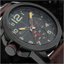 Relógio Militar Pulseira Couro Legítimo