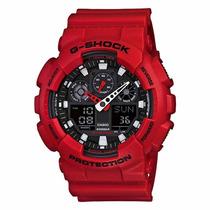 Relógio Pulso Casio G-shock Ga-100 Vermelho Vibrante Wr200 M