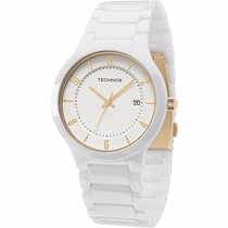 Relógio Technos De Cerâmica Branco Com Calendário Gm10ij/1b