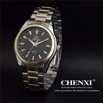 Relogio Masculino Quartzo Chenxi Luxo Inoxidavel Black/silve