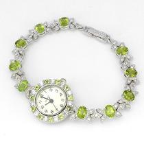 Relógio Feminino Prata 925 Rodinada Peridotos Naturais