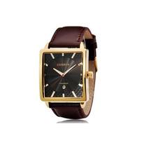 Relógio Curren Quadrado Masculino Oversized Marron Dourado