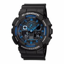 Presente De Natal Relógio Casio G-shock Ga-100 Pret Com Azul