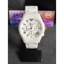 Relógio Emporio Armani Ar1403 Cerâmica Branco Original
