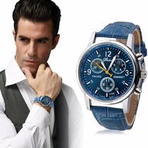 Relógio Masculino Com Pulseira De Couro - Frete Grátis