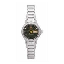 Relógio Orient Prata Fem. Automático 559wa6x Fundo Preto