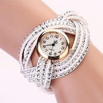 Relógio Feminino Pulseira De Camurça Branco Com Strass