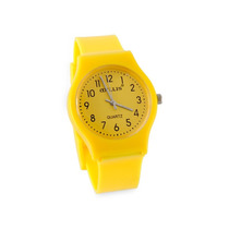 Relógio Analógico Feminino De Borracha Brilhante (amarelo)