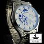 Relógio Shenhua Automático Branco Pulseira De Aço Sol/lua