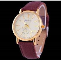 Relógio Dalas Quartz Original Dourado Couro
