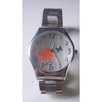 Relógio Feminino Com Fundo De Flor E Borboleta Frete Grátis