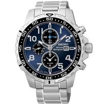Relógio Seiko Ssc305 Core Solar Azul Alarme Cronografo