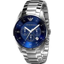 Relógio Emporio Armani Ar5860 Aço Com Azul Original