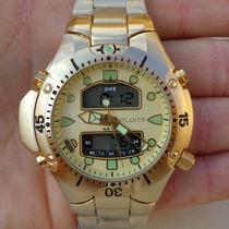 Relógio Masculino Atlantis Aqualand Original Dourado G3154