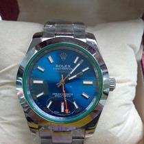 Relógio Milgauss Prata Fundo Azul + 12x + Safira + Sedex