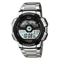 Relogio Casio Ae 1100 Wd Aço Crono Hora Mundi Timer 5 Alarm