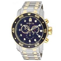 Relogio Invicta Pro Diver Scuba 0077 Gold Blue Swiss Quartz