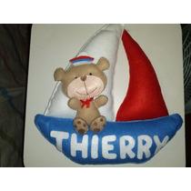 Enfeite Porta Maternidade Ursinho Marinheiro No Barco