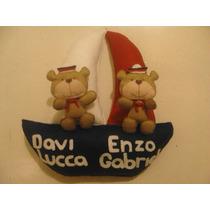 Enfeite Porta Maternidade 2 Ursinhos Marinheiro Barco Gêmeos