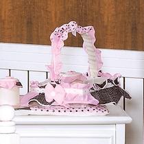 Cesta 3 Potes Para Quarto De Bebê Menina Ursa Florista Hb