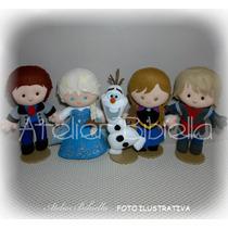 Frozen Da Bibiella - Kit 5 Personagens Feltro / Elsa 25 Cm