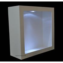 Nicho Quadrado Simp 31x31x12 Bco C/led + 3 Pilhas Gratis-mdf
