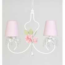 Luminária Infantil Provensal Menina Flor 2 Cúpulas Lustre