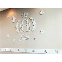 Decoração Urso Príncipe Princesa Coroa Quarto Bebê Mdf