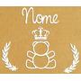 Decoração Urso Coroa Ramos Nome Quarto Bebê Mdf Pintado