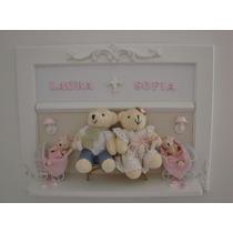 Urso Gêmeos Porta Maternidade Família Menina Menino