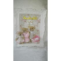 Quadro Porta Maternidade Família Urso Bebê Menino Menina