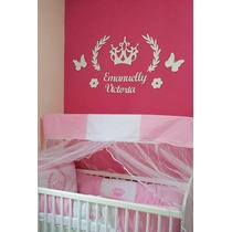 Painel De Parede Mdf Branco Princesa Decoração Quarto Bebê