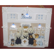 Quadro Porta De Maternidade Família De Ursinhos C/iluminação