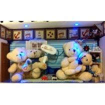 Quadro Família Urso - C/ Leds Porta Maternidade Quarto Bebê