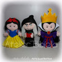 Branca De Neve 25cm- Kit 4 Personagens Feltro Madrasta Bruxa