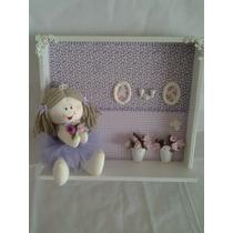 Enfeite Quadro Porta Maternidade Boneca Pano Bailarina Lilas