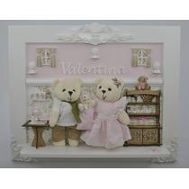 Urso Porta Maternidade Luz Led Família Pilha Quadro Bebê