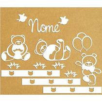 Kit Decoração Ursos Quarto Bebê Completa Em Mdf Pintado