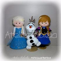 Frozen New Da Bibiella - Anna E Elsa 25cm / Olaf 20cm Feltro