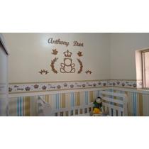 Painel De Parede Mdf Cru Urso Príncipe Decoração Quarto Bebê