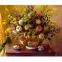 Flores De Verão Coloridas Arranjo Pintor Parsons Tela Repro