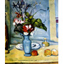 Arranjo De Flores Vaso Azul Frutas Pintor Cézanne Tela Repro