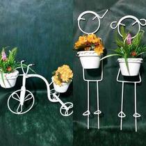 Kit Suporte Para Vaso Bicicleta Varanda/jardim + 3 Meninos