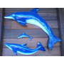 Trio De Golfinhos Em Resina C/ Fibra De Vidro Salto Esquerda
