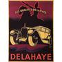 Cartaz Poster Vintage Carro Antigo Delahaye Cavalo Raça